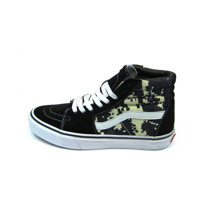 vans sk8-hi digital camo black yellow white sole